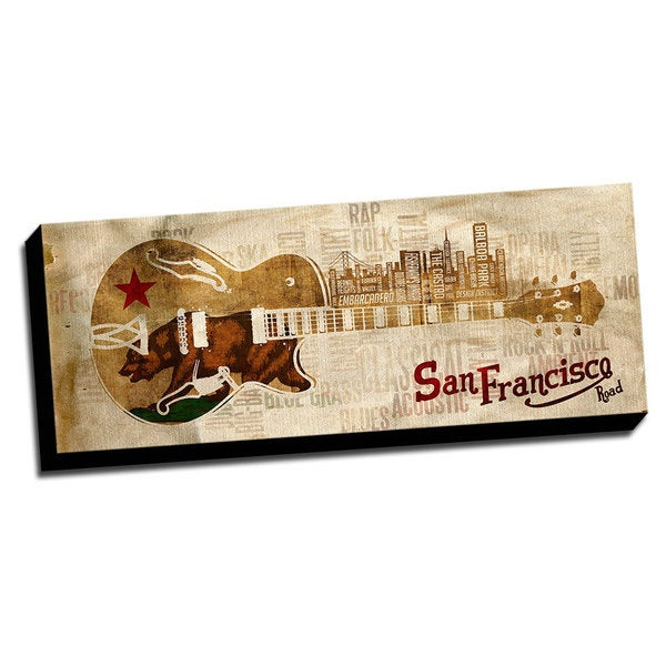 San Francisco Music Road Canvas Printed on Ready to Hang Framed Stretched Canvas