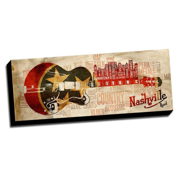 Nashville Music Road Canvas Printed on Ready to Hang Framed Stretched Canvas