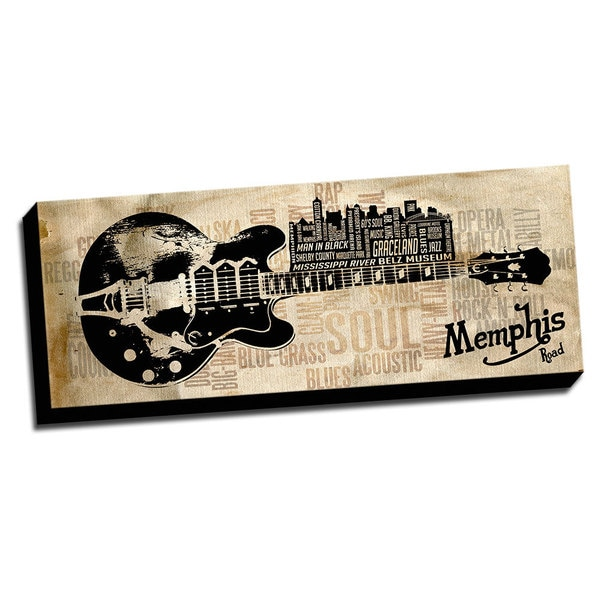 Memphis Black Music Road Canvas Printed on Ready to Hang Framed Stretched Canvas
