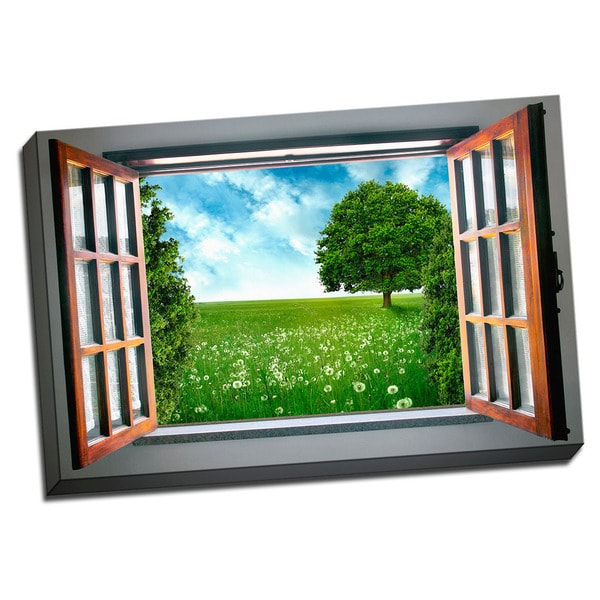Peaceful Yard View 24x36 Landscape Art Printed on Framed Ready to Hang Canvas