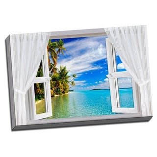 Serene Ocean View 24x36 Landscape Art Printed on Framed Ready to Hang Canvas
