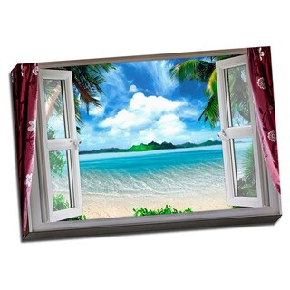 Beach and the Ocean View 24x36 Printed on Framed Ready to Hang Canvas