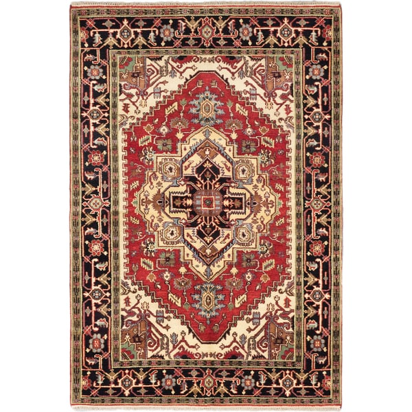 Ecarpetgallery Hand-knotted Serapi Heritage Red Wool Rug (6'1 x 8'11) 18077355