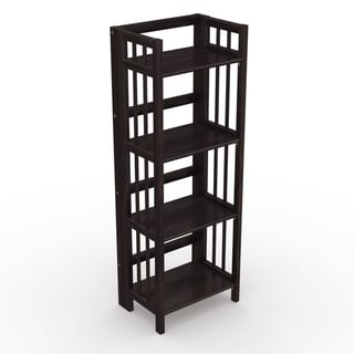 No Assembly Folding Four Shelf Bookcase (16 Inches Wide)