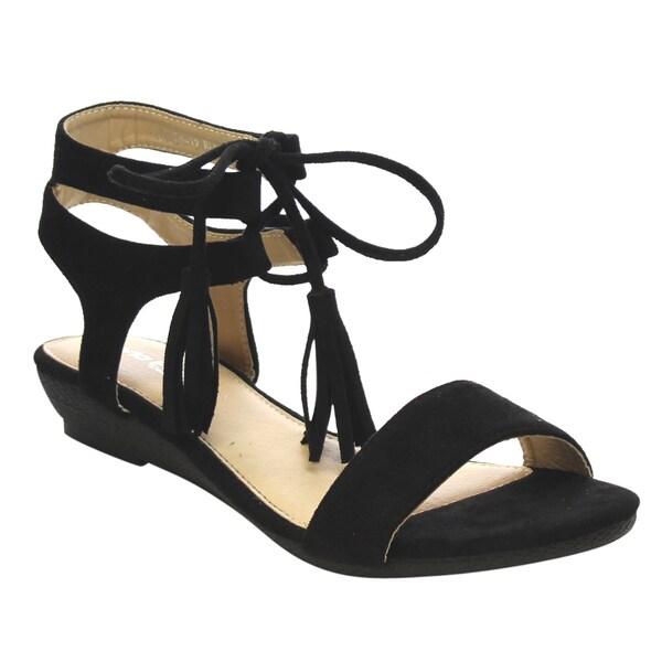 VIA PINKY Fringe Ankle Strap Low Heel Sandals 18077762
