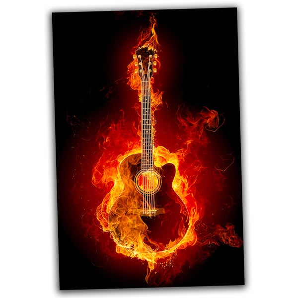 Black Guitar on Fire 30x20 Ready to Hang Canvas