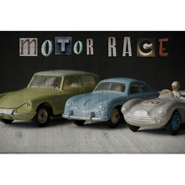 Motor Race Nostalgic Collection Art Printed on Framed Ready to Hang Canvas