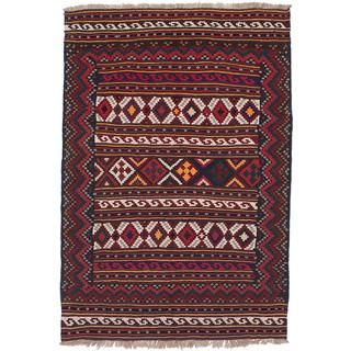 Ecarpetgallery Handmade Persian Flat-weave Persian Red Wool Kilim (4'11 x 7'2)