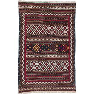 Ecarpetgallery Handmade Persian Qashqai Beige and Brown Wool Kilim (4'11 x 7'9)