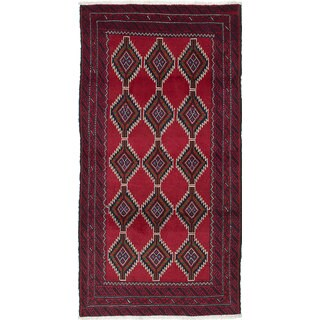 Ecarpetgallery Hand-Knotted Persian Finest Baluch Red Wool Rug (2'11 x 5'10)