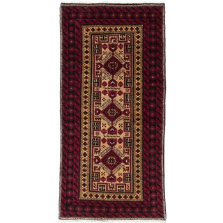 Ecarpetgallery Hand-Knotted Persian Finest Baluch Red Wool Rug (2'9 x 5'9)