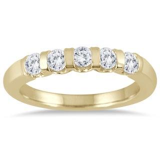 Marquee Jewels 14k Yellow Gold 1/2ct TDW Bar Set 5 Stone Diamond Band (I-J, I2-I3)