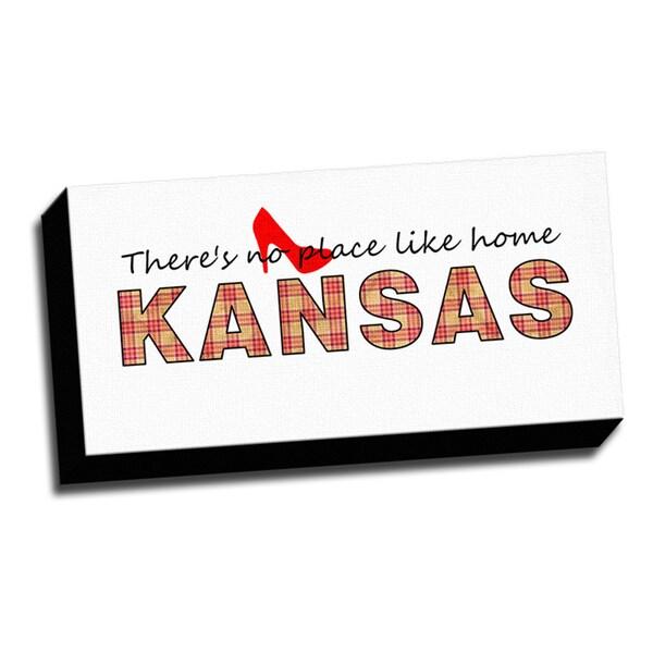 Kansas Slogan 10x20 Quotes Art Printed on Framed Ready to Hang Canvas