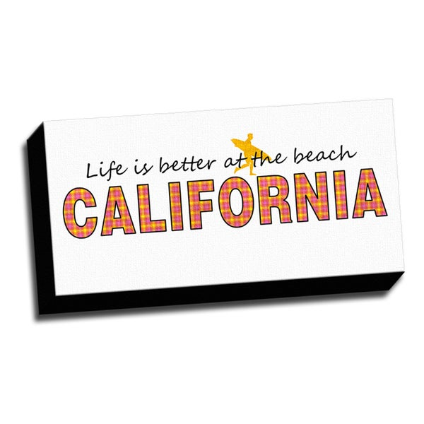 California Slogan 10x20 Quotes Art Printed on Framed Ready to Hang Canvas