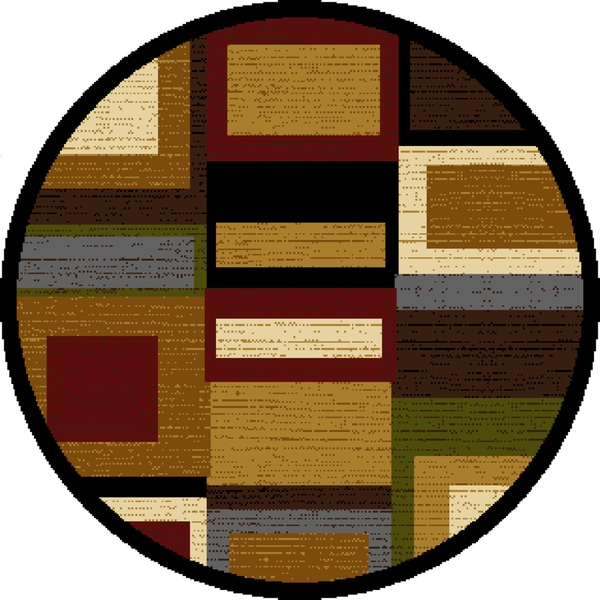 """Home Dynamix Royalty Collection Multi-Red (39"""") Round Machine Made Polypropylene Area Rug"""