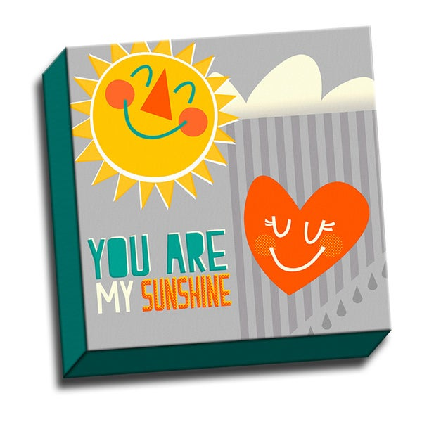 You Are My Sunshine Kids Song 12x12 Printed on Framed Ready to Hang Canvas