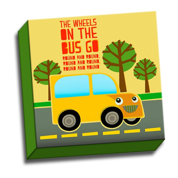 The Wheels on the Bus Kids Song 12x12 Printed on Framed Ready to Hang Canvas