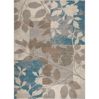 "Home Dynamix Tremont Collection Beige-Blue (3'3"" x 5'2"") Machine Made Polypropylene Area Rug"