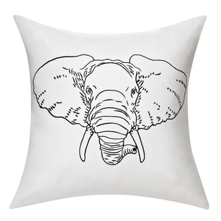 Swift Home Embrodiered Cotton Throw Pillow-Elephant