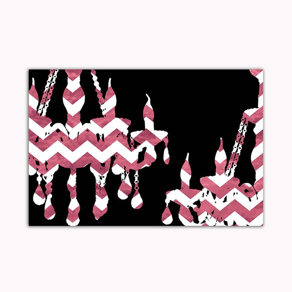 Chevron Pink Chandelier Printed on Framed Ready to Hang Canvas