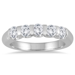Marquee Jewels 14k White Gold 3/4ct TDW Bar-set 5-stone Diamond Band (I-J, I2-I3)