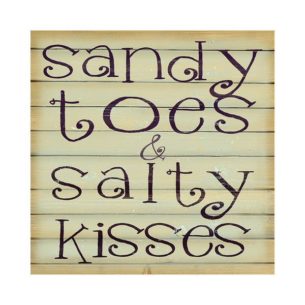 Sandy and Salty Beach Quotes 16x16 Printed on Framed Ready to Hang Canvas