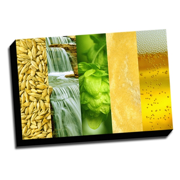 Beer Ingredients 16x24 Printed on Framed Ready to Hang Canvas