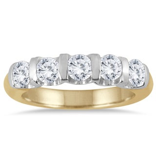 Marquee Jewels 14k Two-toned Gold 1ct TDW Bar-set 5-stone Diamond Band (I-J, I2-I3)