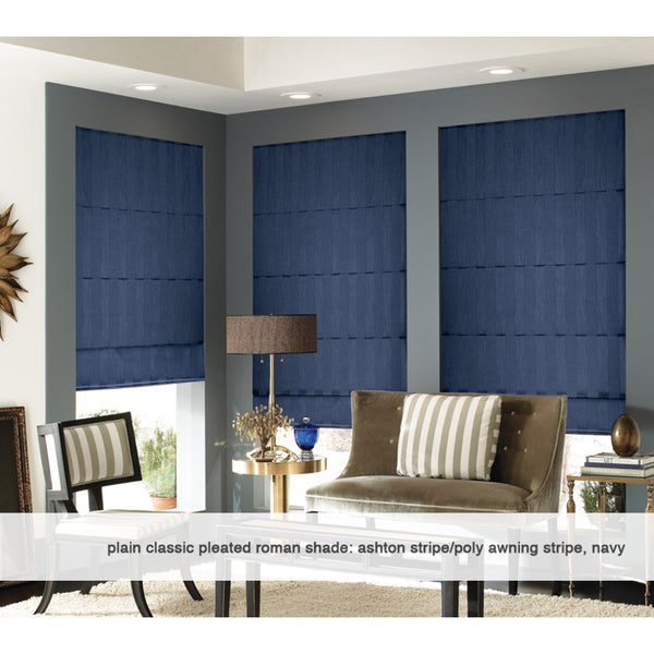 Roman Shades Ashton Stripe Navy Plain Fold 36 to 36.5 inches Wide