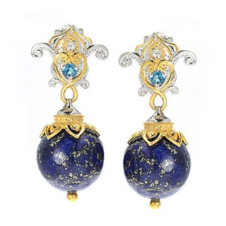 Michael Valitutti Lapis Lazuli with London Blue Topaz and White Sapphire Earrings