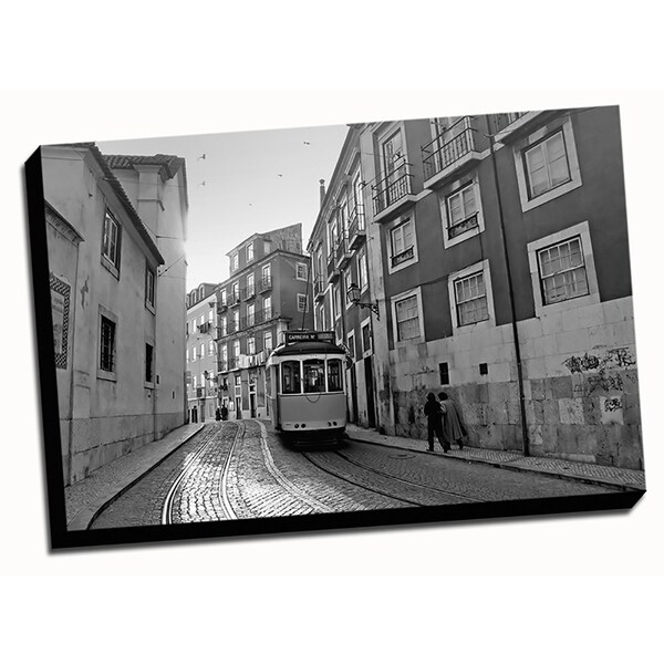 BandW Lisbon City Printed on Framed Ready to Hang Canvas