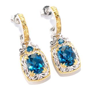 Michael Valitutti London Blue Topaz with White Sapphire Earrings