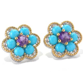 Michael Valitutti Sleeping Beauty Turquoise and Amethyst Flower Earrings