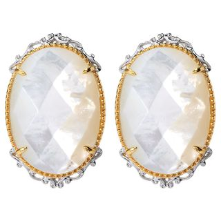 Michael Valitutti White Mother of Pearl Earrings