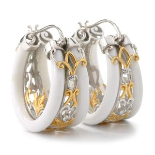Michael Valitutti White Agate and White Sapphire Hoop Earrings