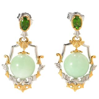 Michael Valitutti Green Amazonite with Chrome Diopside Earrings