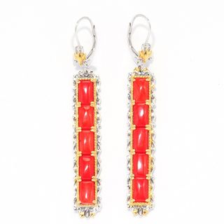 Michael Valitutti Red Bamboo Coral Rectangle Earrings