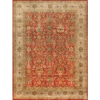 Pasargad Majestic Tabriz Hand-Knotted Rust/Ivory Wool Rug (9' x 12')