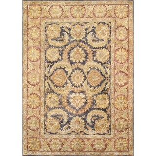 Pasargad Hand-Knotted Classic Agra Black/Burgundy Wool Rug (9' x12')