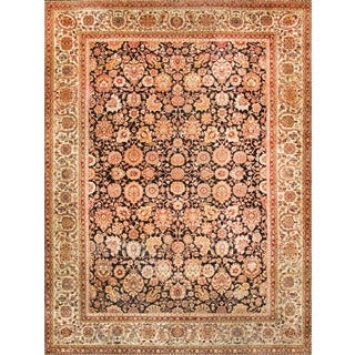Pasargad Hand-Knotted Classic Agra Black/Ivory Wool Rug (9' x 12')