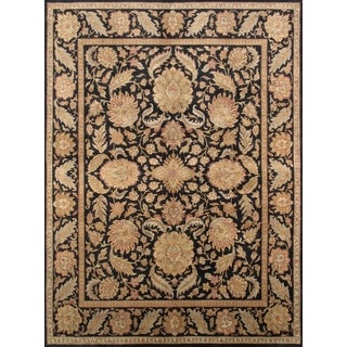 Pasargad Hand-Knotted Classic Agra Black Wool Rug (9' x 12')