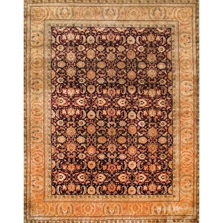 Pasargad Hand-Knotted Classic Agra Burgundy/Gold Wool Rug (9' x 12')