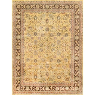Pasargad Majestic Tabriz Hand-Knotted Gold/Brown Wool Rug (9' x 12')