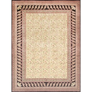 Pasargad Kerman Hand-Knotted Ivory/Black Wool Rug (9' x 12')