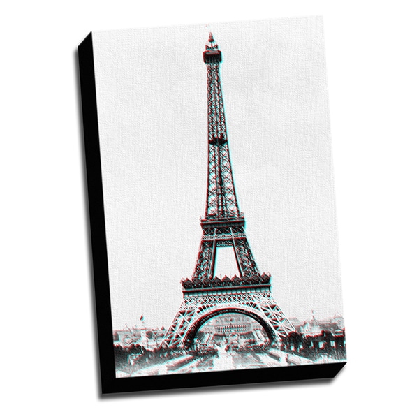 Eiffel Tower Anaglyph 3D Printed on Ready to Hang Framed Stretched Canvas