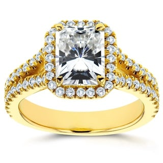 Annello 14k Yellow Gold 1 4/5ct Forever Brilliant Radiant Moissanite and 1/2ct TDW Diamond Halo Split Shank Ring (G-H, I1-I2)