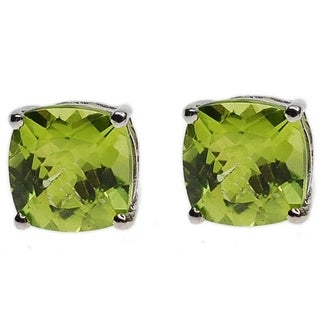 Kabella 14K White Gold Cushion Cut Peridot Stud Earring