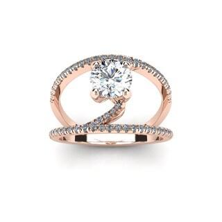14k Rose Gold 1 1/2ct Open Band Engagement Ring (H-I, I1-I2)