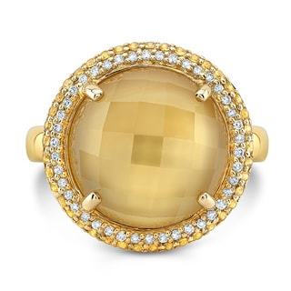 14kt Yellow Gold 1/6ct TDW Diamond and Citrine Mop and Yellow Sapphire Ring
