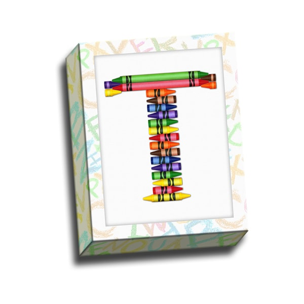 Alphabet Crayon T Kids Printed on Ready to Hang Framed Stretched Canvas